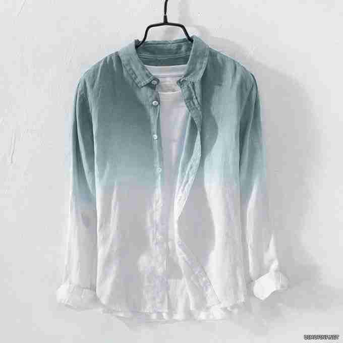 Fashion Summer Mens Cool Thin Breathable Lapel Collar Hanging Dyed Gradient Cotton Shirt