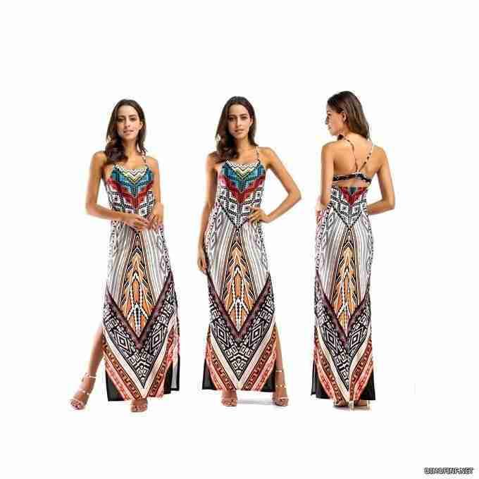 AFankara فستان سهرات طويل بطبعة African African التقليدية - رمادي